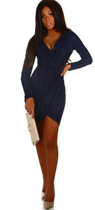 Pink Boutique Fallon Navy Pleated Wrap Front Dress