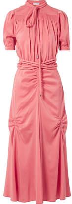 Carven Smocked Silk-blend Crepe De Chine Midi Dress - Pink