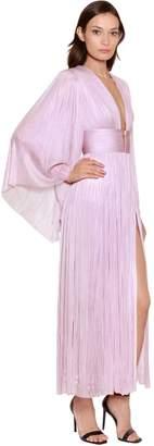 Maria Lucia Hohan Long Sleeve Silk Plissé Midi Dress