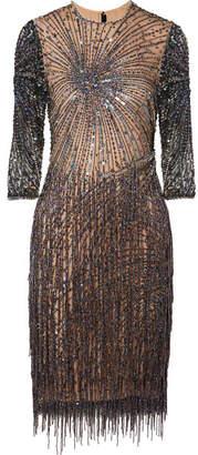 Naeem Khan Embellished Tulle Mini Dress - Navy