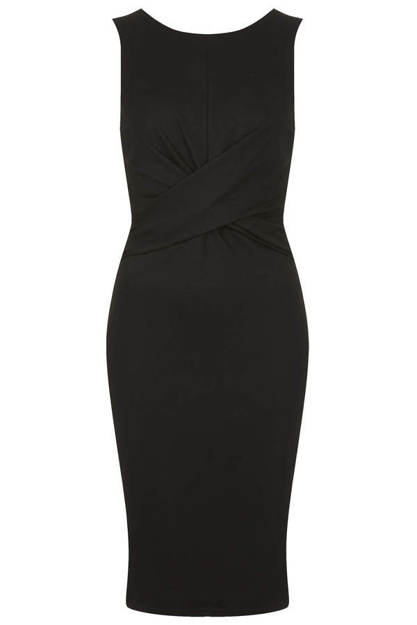 Topshop Ponte jersey midi bodycon dress with knot twist detail and back zip fastening. 66% viscose, 30% nylon, 4% elastane. machine washable.