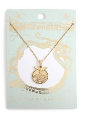 Topman Mens Gold Coin Fin Necklace*
