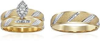 Triton 10k Diamond Trio Wedding Ring Set (1/10cttw