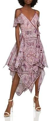 BCBGMAXAZRIA Cold-Shoulder Festival Paisley Wrap Dress