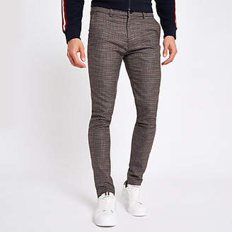 River Island Brown houndstooth jersey skinny fit pants