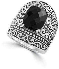 Effy Sterling Silver and Onyx Ring