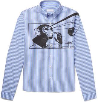 Prada Button-Down Collar Printed Striped Cotton-Poplin Shirt