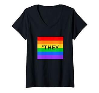Womens CorrectionTHEY Neutral Pronoun Rainbow Design V-Neck T-Shirt