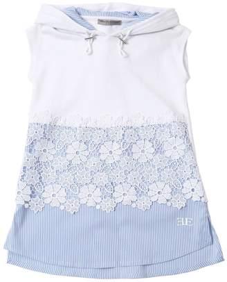 Ermanno Scervino Cotton Interlock & Poplin Dress W/ Lace
