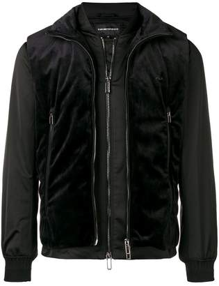 Emporio Armani velvet vest layered jacket