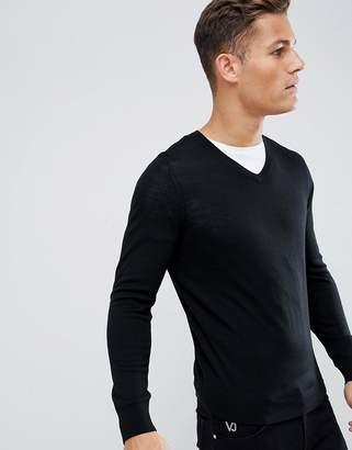 Celio merino wool sweater in black
