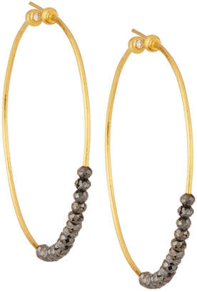 Gurhan 24k Black Diamond Hoop Earrings