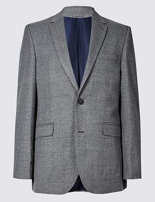 Marks and Spencer Grey Checked Tailored Fit Jacket