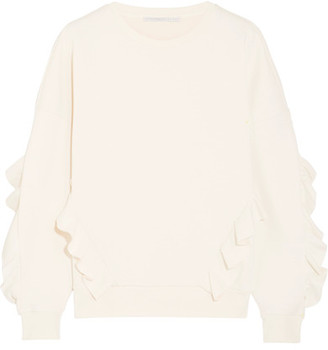 Stella McCartney - Ruffled Cotton-blend Jersey Sweater - Ivory $585 thestylecure.com