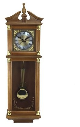 """Jrheller Bedford Clock Collection 34.5"""" Antique Chiming Wall Clock with Roman Numerals in a Harvest Oak Finish"""