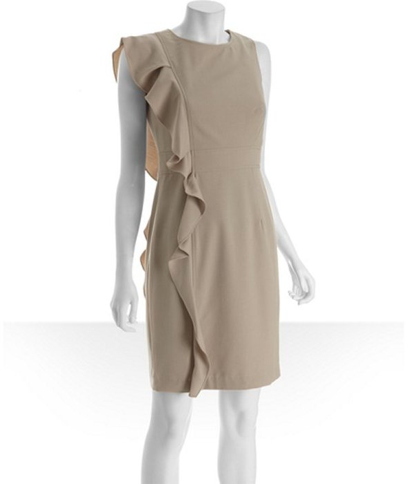 Calvin Klein khaki knit ruffle side sleeveless dress