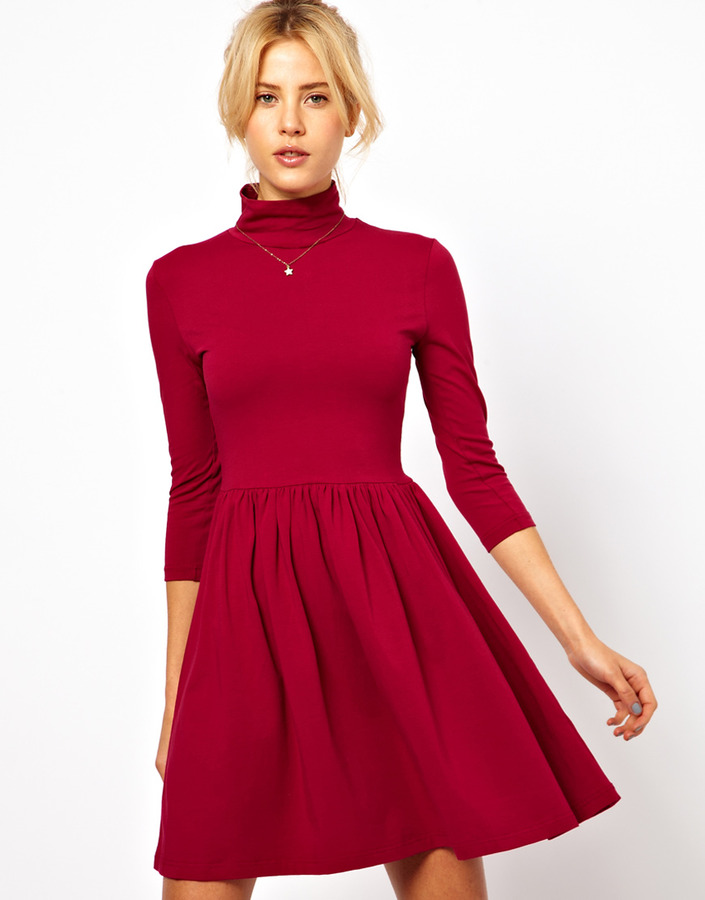 Asos Skater Dress With Polo Neck And 3/4 Sleeves.