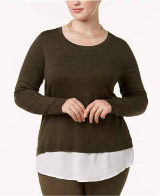 INC International Concepts I.n.c. Plus Size Ruched-Back Layered Sweater, Created for Macy's