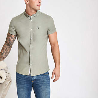 River Island Mens Khaki muscle fit rose embroidery Oxford shirt