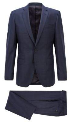 BOSS Hugo Slim-fit suit in Glen-check Italian virgin wool 38R Open Blue
