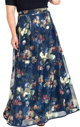 Standards & Practices Iris Floral Mesh Maxi Skirt