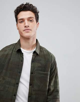 Abercrombie & Fitch Sport Quilted Shirt Jacket in Green Camo