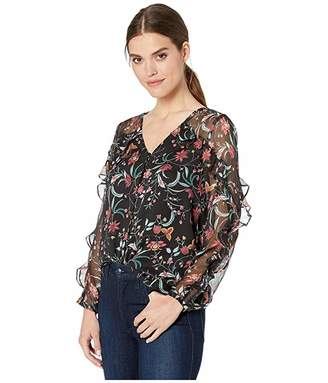 CeCe Long Sleeve Marrakesh Ink Floral Ruffled Blouse