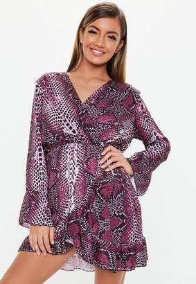 Missguided Purple Satin Animal Print Dress, Purple