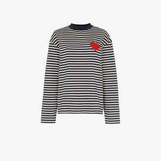 Palm Angels Pin My Heart striped T-Shirt