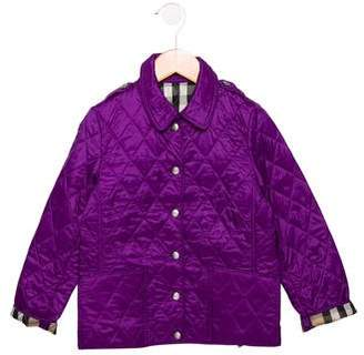 Burberry Girls' Quilted Collared Jacket w/ Tags