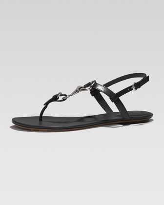 Gucci Horsebit Flat Thong Sandal, Black