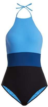 Diane von Furstenberg Halterneck Striped Swimsuit - Womens - Blue Multi