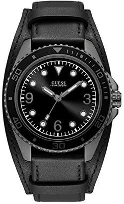 GUESS Men's Stainless Steel Casual Leather Cuff Watch