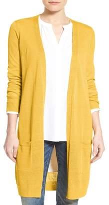 Halogen Long Linen Blend Cardigan (Regular & Petite)