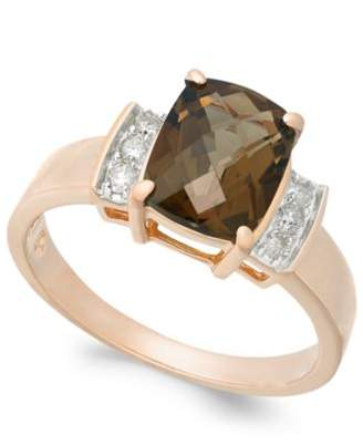 Macy's Smoky Quartz (1-9/10 ct. t.w.) & Diamond (1/8 ct. t.w.) Ring in 14k Rose Gold