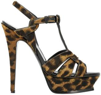 Saint Laurent Heeled Sandals Tribute Sandal In Spotted Pony With Plateau