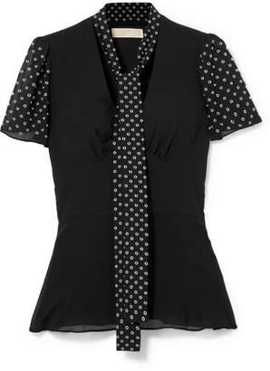 MICHAEL Michael Kors Pussy-bow Embellished Georgette Top - Black
