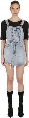 Ksubi Distressed Cotton Denim Overall Dress