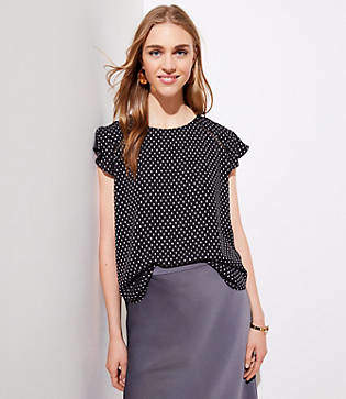 LOFT Dotted Tie Back Flutter Top