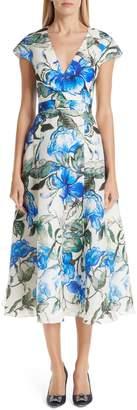 Carolina Herrera Floral Silk Midi Dress