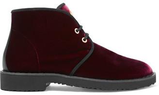 Giuseppe Zanotti - Velvet Ankle Boots - Burgundy $750 thestylecure.com