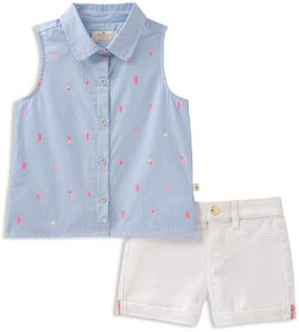 Kate Spade Girls' Striped Ice Pop Print Shirt & Cuffed Shorts Set