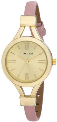 Laura Ashley Ladies' Pink Thin Strap Gold Case Watch