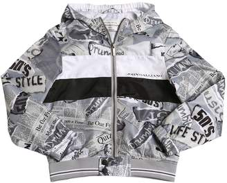 John Galliano Gazette Print Nylon Bomber Jacket