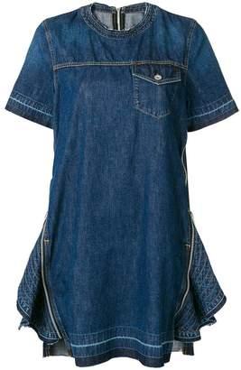 Sacai denim zip embellished dress