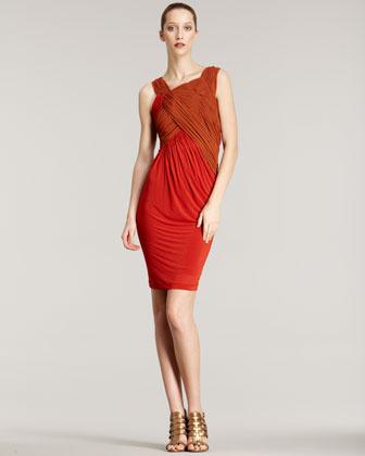 Donna Karan Slash Draped Jersey Dress
