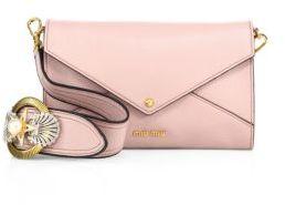 Miu MiuMiu Miu Madras Leather Envelope Crystal-Buckle Shoulder Bag