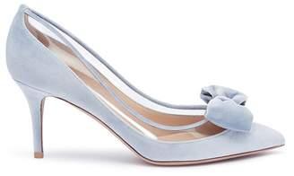 Valentino Detachable bow clear PVC panel velvet pumps