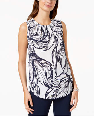 Nine West Printed Pleat-Neck Shell