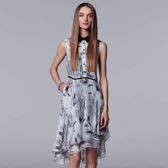 Vera Wang Women's Simply Vera Striped Layered-Hem Shirtdress